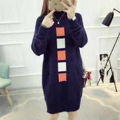 Dream Girl - Colour Block Mock-neck Knit Dress