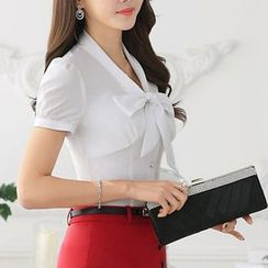 Caroe - Short-Sleeve Bow Neck Shirt