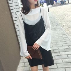 QZ Lady - Faux Leather Strappy Jumper Dress