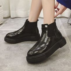 SouthBay Shoes - Platform Brogue Ankle Boots