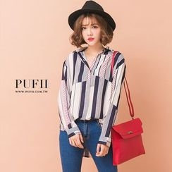 PUFII - 正韓幾何拼接條紋雪紡襯衫