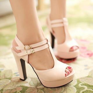 77Queen - T-Strap Platform Heel Sandals