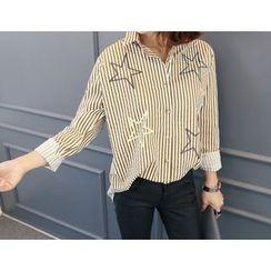 DANI LOVE - Star-Patterned Stripe Shirt