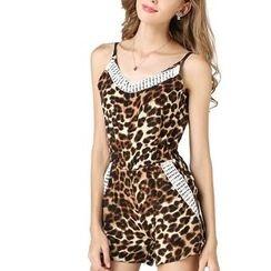 LIVA GIRL - 豹紋蕾絲邊無袖連衣短褲