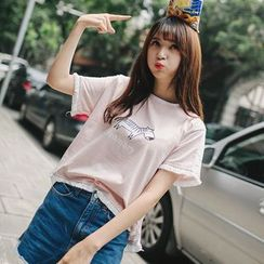 微米家 - 流苏边印花短袖T恤