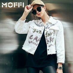 MOFFI - Lettering Raw Hem Denim Jacket