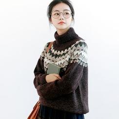 Forest Girl - Patterned Turtleneck Sweater