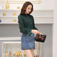 Romantica - Set: Lace Blouse + Denim Skirt