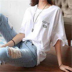 CHICFOX - Printed Loose-Fit T-Shirt