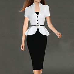 Noctiluca - Two-tone Peplum Short-Sleeve Dress