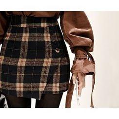 Marlangrouge - Inset Shorts Check Mini Skirt