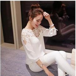Sienne - Lace Trim 3/4 Sleeve Tie Cuff Chiffon Top