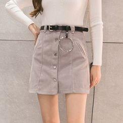 Fancy Show - Buttoned A-Line Skirt