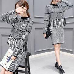 Romantica - Set: Houndstooth Sweater + Skirt