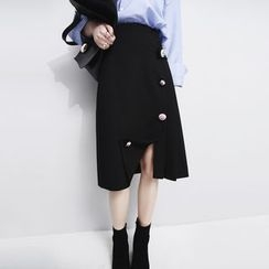 Sonne - Flower-Button Pleated-Side Midi Skirt