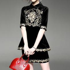 Alaroo - 套裝: 刺繡中袖翻領荷葉腰絲絨上衣 + 直腿裙