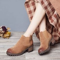 LARKSPUR - Burnished Block Heel Chelsea Boots