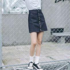 Porta - Buttoned Denim Skirt