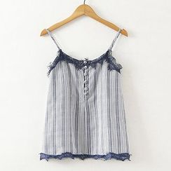 ninna nanna - Lace Trim Striped Buttoned Camisole Top