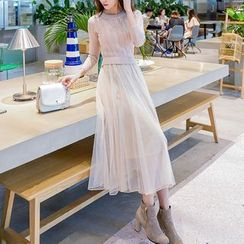 Dowisi - Mock Two-piece Mesh Panel Long-Sleeve Knit Dress