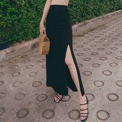 migunstyle - Tie-Waist Long Flare Skirt