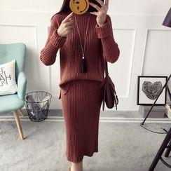 Qimi - 套装: 纯色罗纹毛衣 + 针织中裙