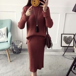 Qimi - 套裝: 純色羅紋毛衣 + 針織中裙