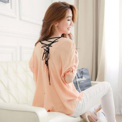 Tokyo Fashion - Lace-Up Back Blouse