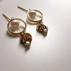 Momi K - Faux Pearl Bar Drop Earrings/ Clip-On Earrings