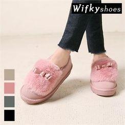 Wifky - Beribboned Faux-Fur Slip-Ons