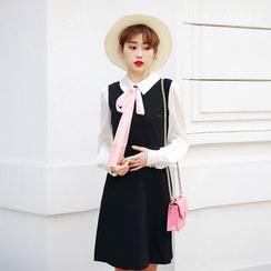 KAKO KARA - Mock Two Piece Tie Neck Long Sleeve Dress