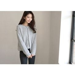 Hello sweety - Hidden-Button Furry-Knit Cardigan