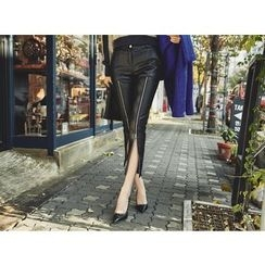 UUZONE - Faux-Leather Zipped Pants