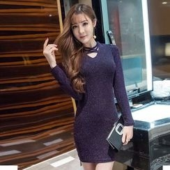 Louise - Long Sleeve Cold Shoulder Glitter Bodycon Dress
