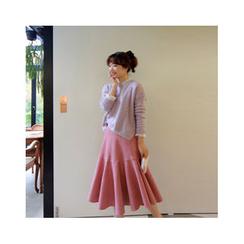 LEELIN - Faux-Suede Flare Midi Skirt