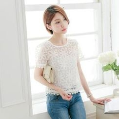 Tokyo Fashion - Short-Sleeve Beaded Embroidered Tulle Top