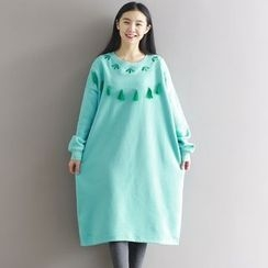 Queen Bee - Tasseled Embroidered Knit Dress