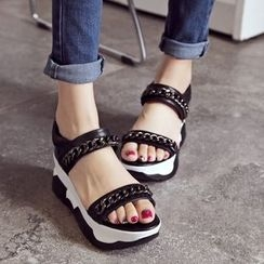 JY Shoes - Chain Detailed Wedge Sandals