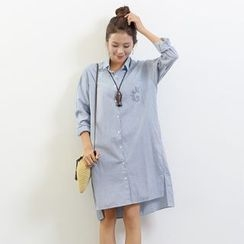 Waypoints - Pinstripe Dip Back Linen Cotton Shirtdress