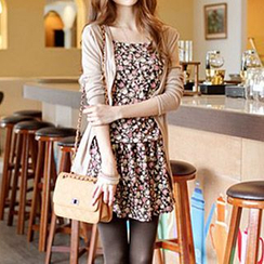 Rocho - Set: Spaghetti-Strap Mini Dress + Cardigan
