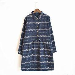 Waypoints - Print Linen Cotton Shirtdress