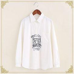 Fairyland - Tiger Embroidered Long-Sleeve Shirt