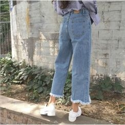 OCTALE - Washed Cropped Straight Leg Jeans
