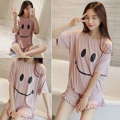 Sheeno - Pajama Set: Smiley Face Short-Sleeve Top + Fray Shorts