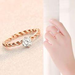 LoveGem - Rhinestone Ribbed Ring