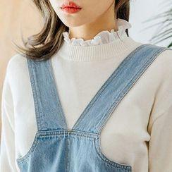 chuu - Crew-Neck Drop-Shoulder Knit Top