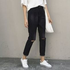 Dute - Ripped Straight Fit Jeans