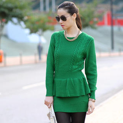 59 Seconds - Peplum Hem Cable-Knit Dress