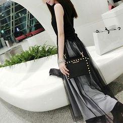 Cerise - Mesh Panel Sleeveless Dress