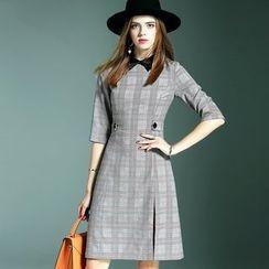 Queen Mulock - Short-Sleeve Plaid Collared Dress